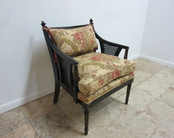 Vintage French Regency Carved Lounge Living Room Fireside Chair A