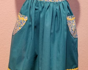 Farm house handmade half apron in turquoise and yellow