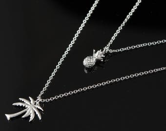 Dainty Silver Pineapple and Palm Tree Layered Necklace, Two Strand Necklace, Summer Jewellery, Delicate Fine Chain