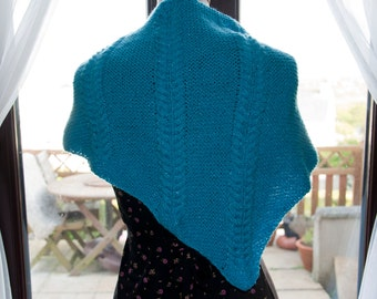Handknitted Shawl in Sparkly Blue