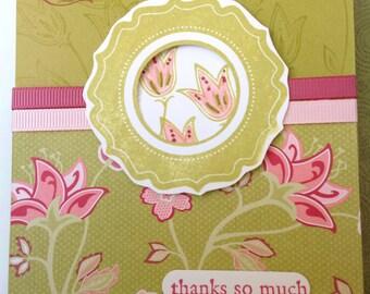 Handmade card- thank you card- flower card-grateful-blank card- thanks so much