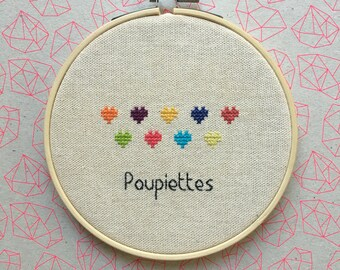 "Handmade cross-stitch Embroidery ""rolls"" deco frame"