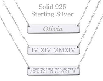 925 Sterling Silver Bar Necklace, Personalized Name Necklace,Coordinates,Roman Numeral,Initial,Greek Letters,Morse Code,Zodiac,Date Necklace