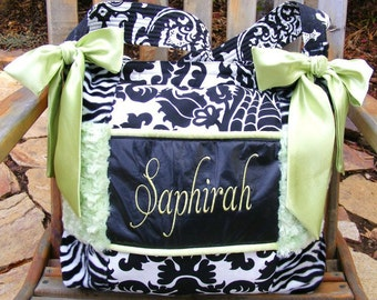 Diaper Bag with Lime Green Rose Cuddle Fabric Black n white Damask n black and white Zebra fur