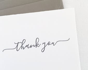 Letterpress Thank You Cards with gray envelopes, Set of 6 | letterpress thank you notes, letterpress set, letterpress cards