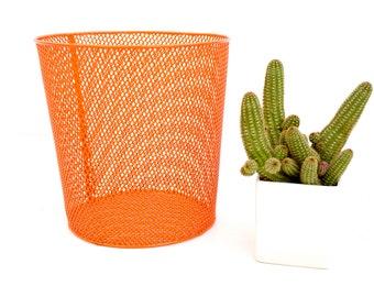 Mid-Century Industrial Heavy-Gauge Orange Metal Mesh Trash Can Vintage Color Pop Waste Basket