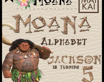 Moana digital alphabet 2, moana clip art, moana letters, moana invitation, moana birthday, alphabet letters, digital font. instant download