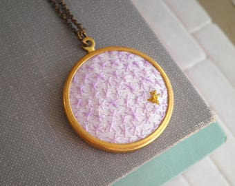Bohemian Star Embroidered Necklace - Pastel Purple + Gold Embroidery Stars Cosmic Necklace - Modern Outer Space Embroidery - Jewelry Gift