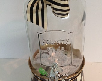 Hand Painted Black / White CHECK Large 1.5 gallon Beverage Dispenser Mason Jar!!