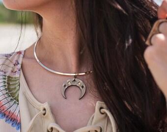 IAH   brass choker, laser cut wood and brass necklace