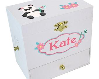 Personalized Panda Bear Deluxe Musical Ballerina Jewelry Box