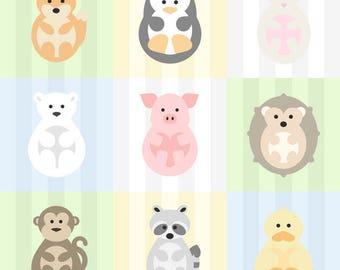 "POLAR BEAR Animal Print for Nursery/Kids Room - 8""x8"" Instant Digital Download"