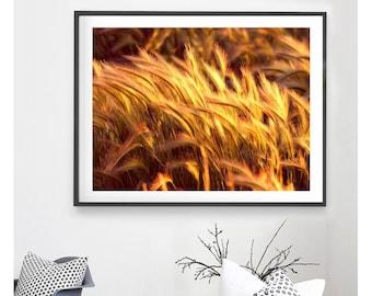 GOLD WALL ART - Gold Grass Art Print, Digital Download, Gold Print, Gold Printable, Printable Wall Art, Grass Photograph, Gold Photograph
