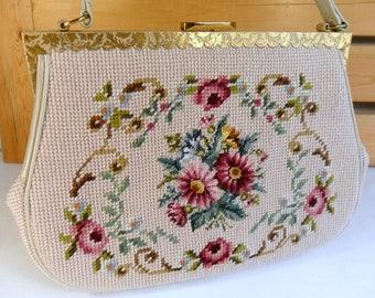 Vintage Purse Petite Point Handbag Vintage Bag Vintage Needlepoint Embroidered Purse Floral Tapestry 1950s Purse Vintage Bohemian Fashion