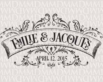 French Ornate Banner Wedding Monogram - Wedding Logo - Wedding Crest