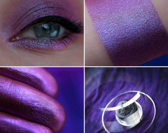 Eyeshadow: Betrothed with Stormy Sky - Fairy. Dark pink with blue and pink tint satin eyeshadow by SIGIL inspired.