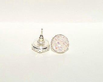 White Druzy Earrings, White Earrings, Crystal Earrings, Faux Druzy Earrings, White Earrings, Druzy Stud Earrings