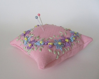 Embroidered Pincushion Pillow, Embroidered Flower Gift for Crafter or Seamstress