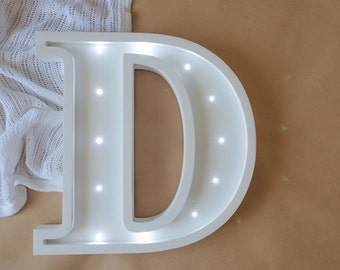 Marquee Letter D - Wall Decor - Marquee letter light - Wall Hangings - Sign D- Wooden letters-Nursery wall hanging Night light Kids lamp