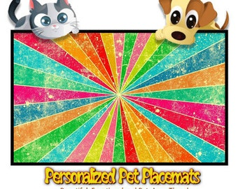 Personalized Pet Placemat - Girl Rock Burst Design