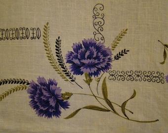Purple Parisian Prints Carnations Linen Tea Towel 1950s Linen Cotton Lavender Cream Off White
