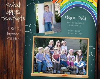 School Class Photo Template - 8x10 Photoshop File