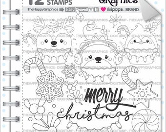 Christmas Stamp 80OFF COMMERCIAL USE Digi Digital Image Digistamp Coloring Page Graphic Animals