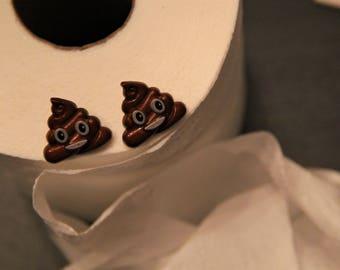 Smiling Poop Emoji Stud Earrings!