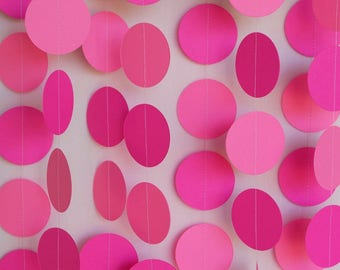 Pink Paper Garland, Valentine Party Decoration, Pink Baby Shower, Circle Garland, Girl's Birthday Party Decor, Hot Pink, 10 ft. long