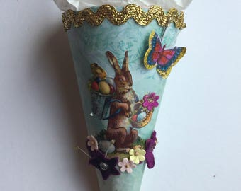 Vintage Easter Cone | Party Favor Cone | Easter Bunny Cone | Easter Party Favor | Vintage Easter Decoration