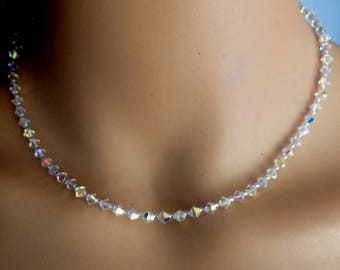 SWAROVSKI crystal choker necklace with back drop Sterling Silver dainty clear or AB crystal bridal necklace small simple wedding jewellery