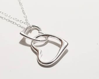Mother and Daughter Necklace - Sterling Silver Double Heart, Best Friends, Couples, Lover, Link Heart Necklace