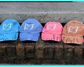 Monogrammed Baseball Hat - Personalized Ladies Baseball Hat - Monogram Pigment Dyed cap