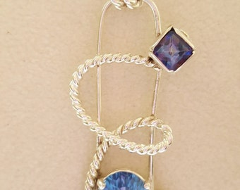 Pure and Argentium silver twisted pendants