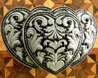 Black Triple Heart Black Rhinestone Belt, Silver Buckle Rhinestone Heart Western Womens Etched Belt Buckle, Heart Buckle, Custom Gift