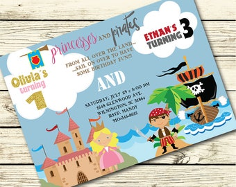 Princess and Pirate BIRTHDAY Party INVITATION for SIBLINGS, Brother and Sister - Pirate Birthday Invite, Princess Birthday Invite