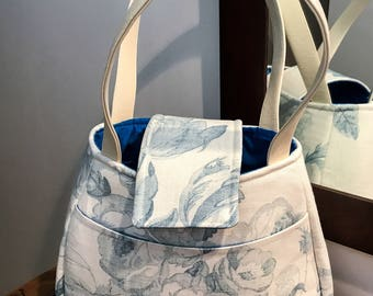 Handmade bag. Summer, holiday, shopping, women. Faux leather handles, fully lined. Floral fabric. Made in Scotland.