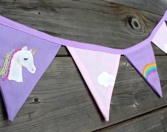 Unicorn, clouds, rainbow flags Garland.