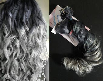 Full Head Clip in Metallic Silver Pastel Ombre Human Hair Extensions Dark Silver to Light Silver Balayage
