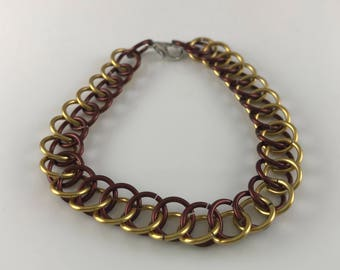 Sale 25% off Brown and Yellow Half Persian Chainmaille Bracelet