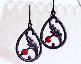 Art Nouveau Earrings - Black Earrings - Victorian Jewelry - FLOURISH Noir