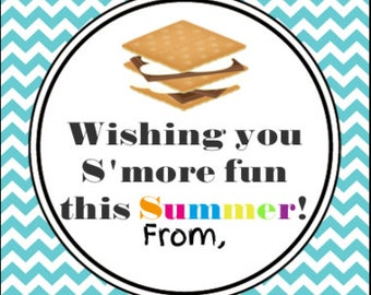 INSTANT DOWNLOAD-s'more fun summer tag, end of school year gift tags, teacher tags end of school year
