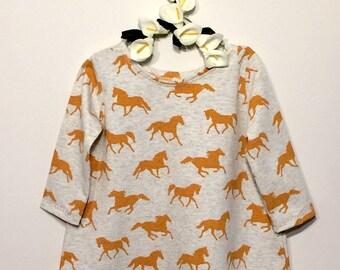 Baby girl dress. Horses dress . Toddler dress. Play dress.