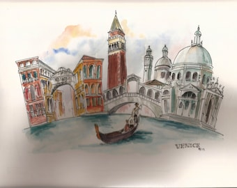 Watercolour cityscape of Venice, Italy