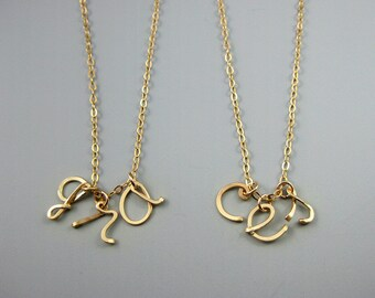 Gold 3 Initial Necklace - 14k gold filled, triple personalized lowercase, three cursive letter friendship necklace, custom mother or grandma