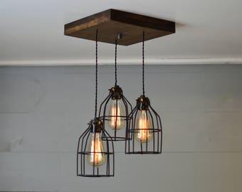 Farmhouse Light - Reclaimed Wood - Chandelier - Light Fixture - Farm Light - Country Lighting - Ceiling Light Fixture - Ceiling Decor