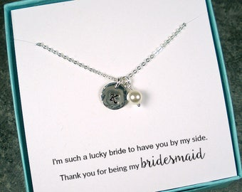 Personalized Bridesmaid Gift, Bridesmaid Initial Necklace, Bridesmaid Jewelry, Maid of Honor Gift, Wedding Card, Hammered, Sterling Silver