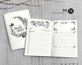 Printable A6 Insert - A6 Traveler's Notebook Insert - A6 daily insert, Daily Traveler's Notebook Insert - Leaves