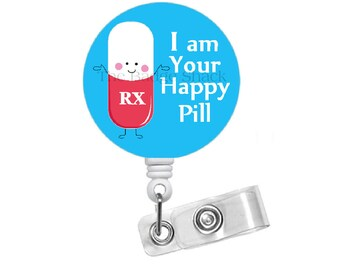 Happy Pill Retractable ID Badge Reel - RX Badge Holder - Pharmacy Badge Reel - Pharmacist Badge Holder - Pharmacy Assistant Badge Clip