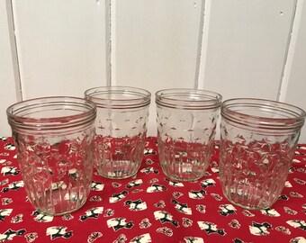 Vintage Canning Jars, Vintage Jelly Jars, Kerr Jelly Jar, Vintage Kerr Jars, Set of 4, 1960s Kerr Jelly Jars